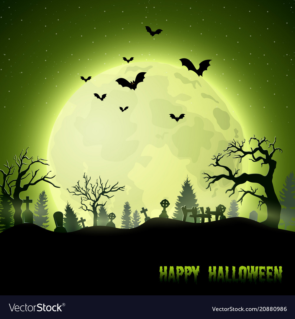 Halloween background with graveyard on full moon