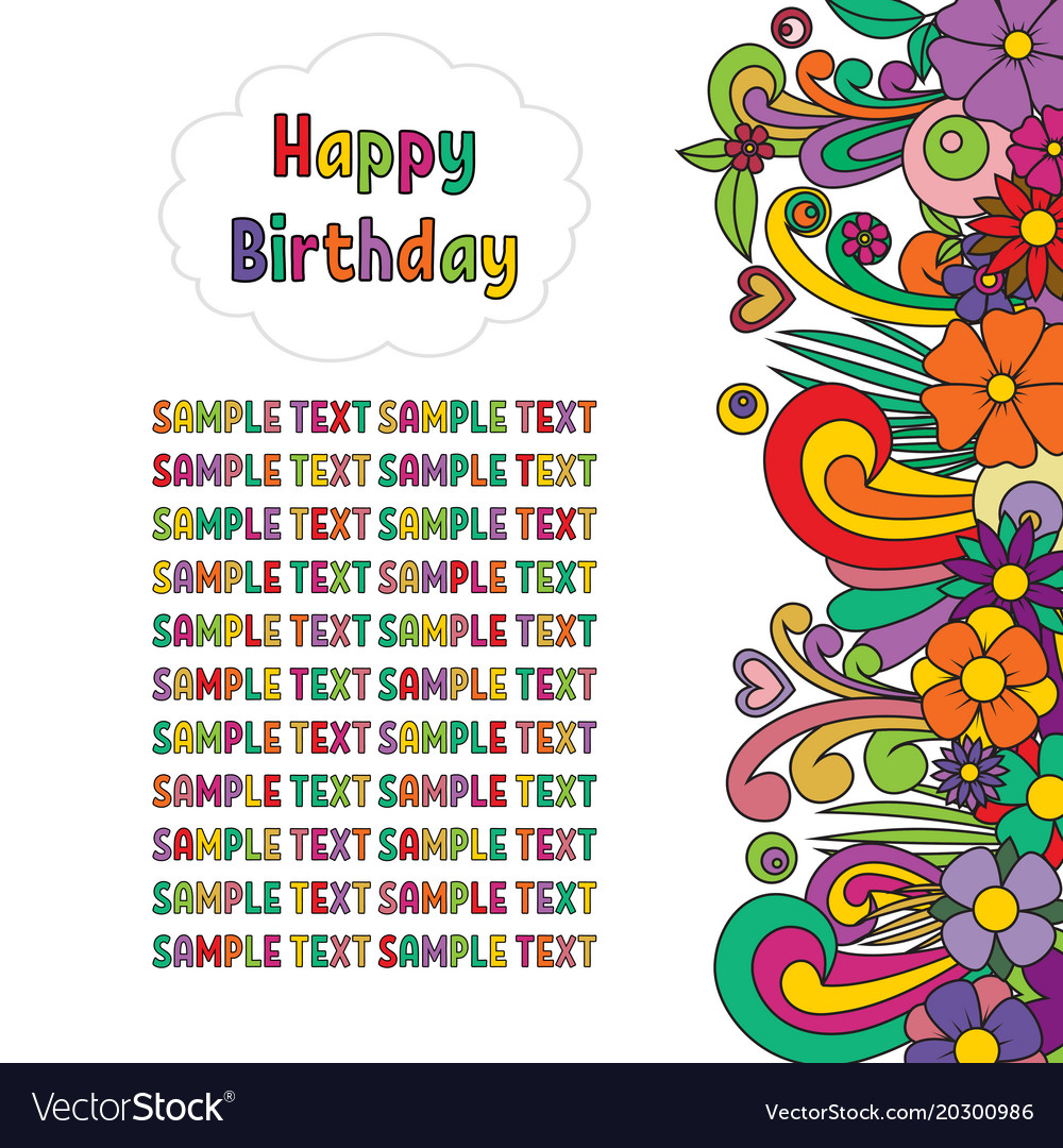 Happy birthday greeting card zen tangle postcard vector image m4hsunfo