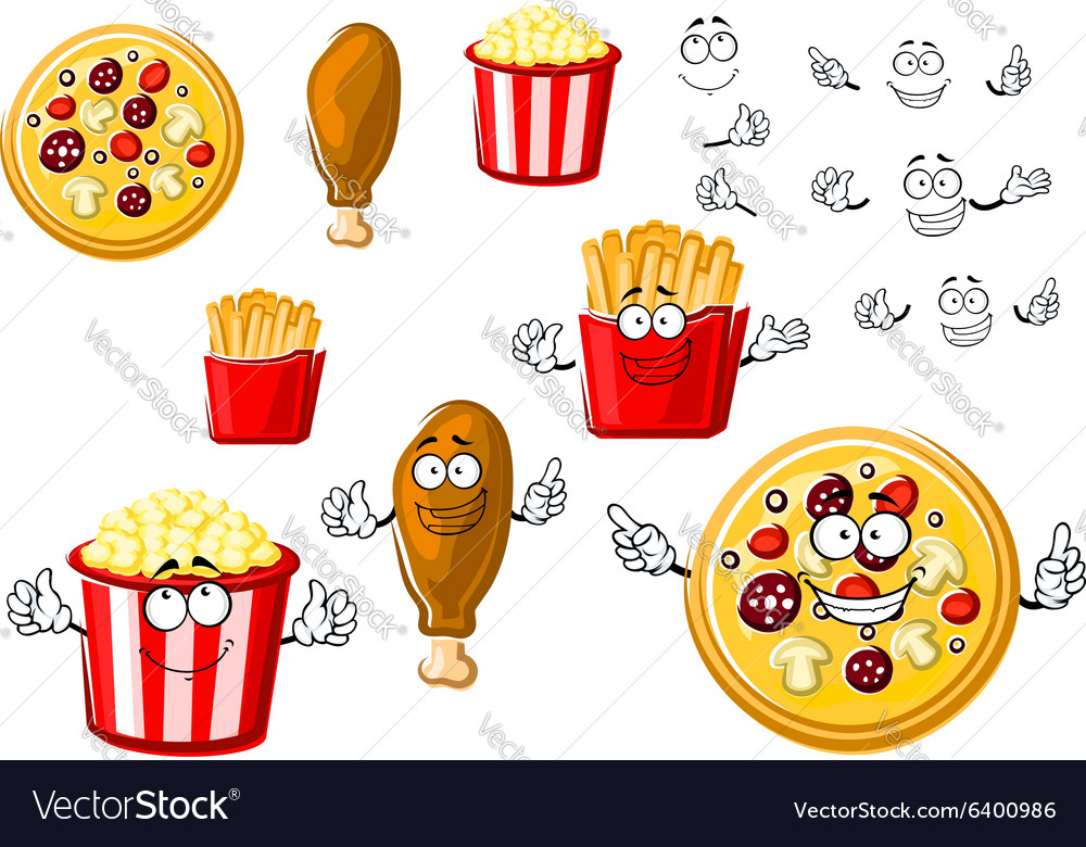 Pizza chicken leg french fries and popcorn
