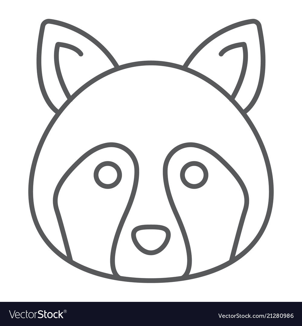 Racoon thin line icon animal and zoo coon
