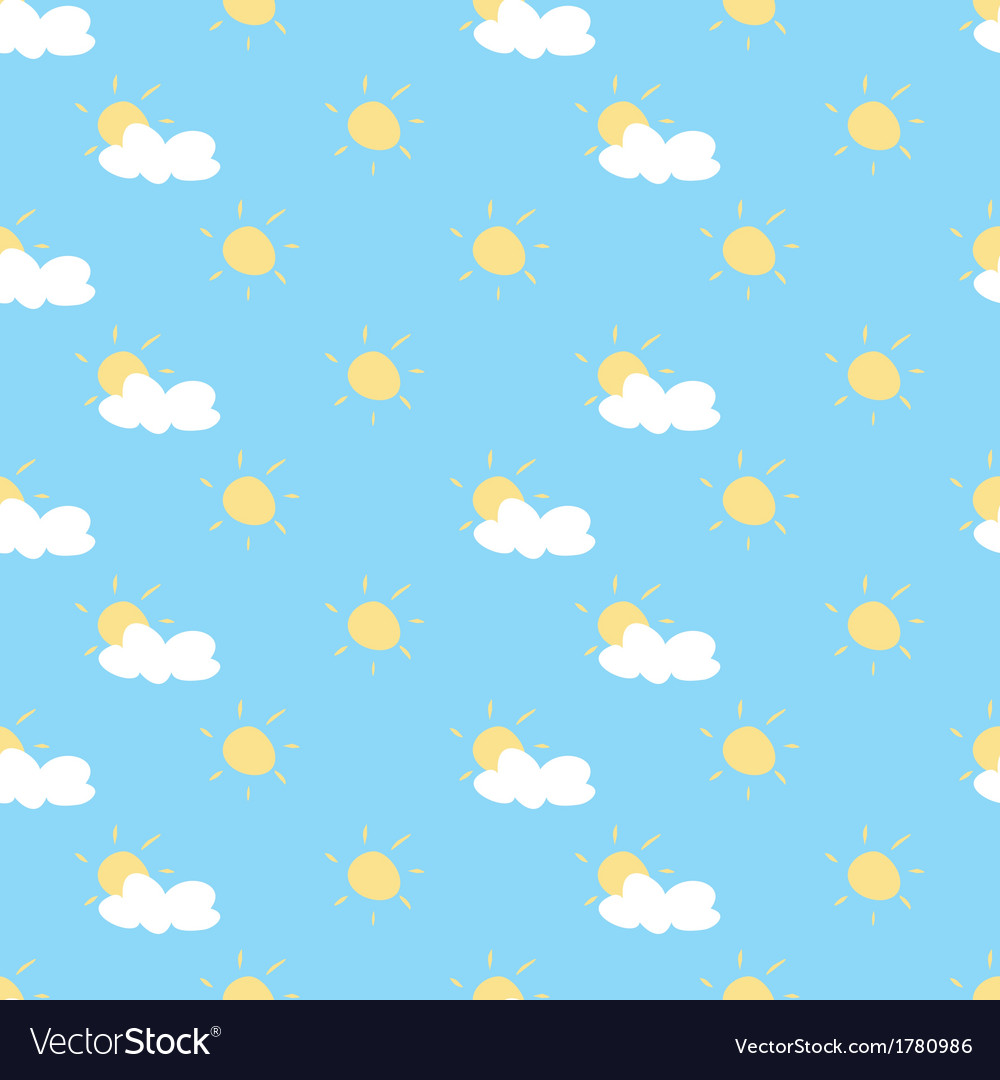 Seamless summer background with sun cloud sky vector image