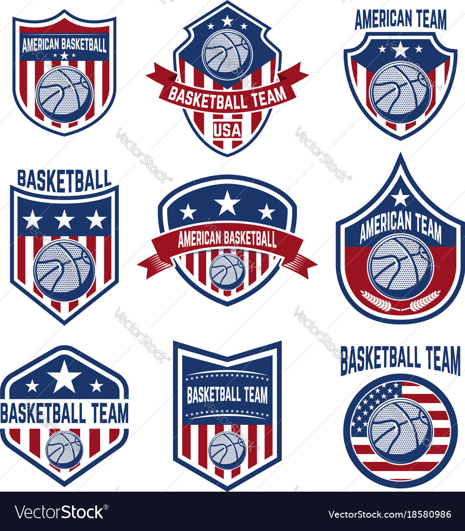 Set of american basketball team labels emblems