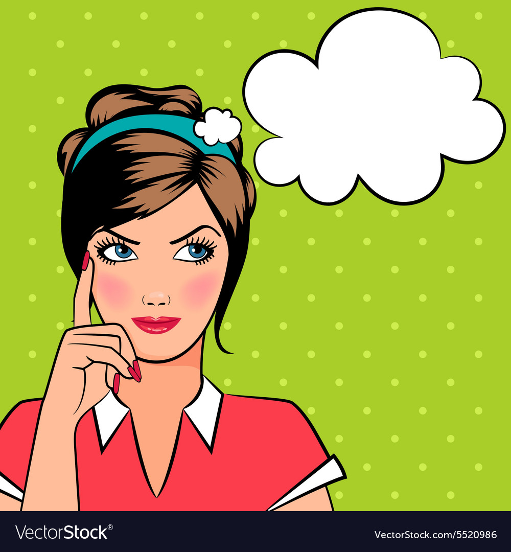 thinking pop art woman royalty free vector image