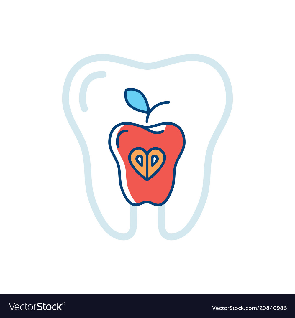 Tooth health icon tooth and a red apple symbol
