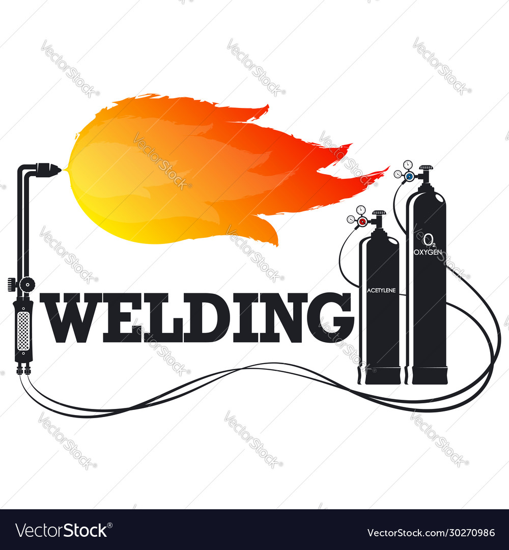 Welder with fire symbol for