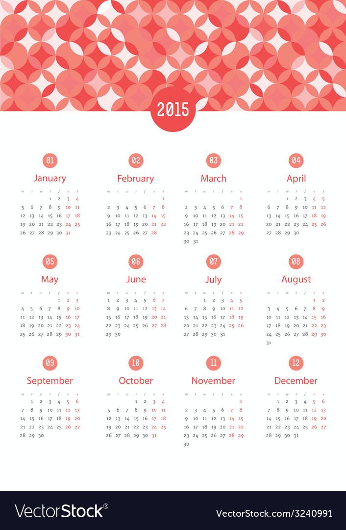 Calendar 12 months 2015