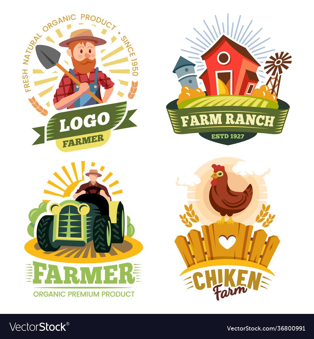 Farm and farmer labels organic food bio products