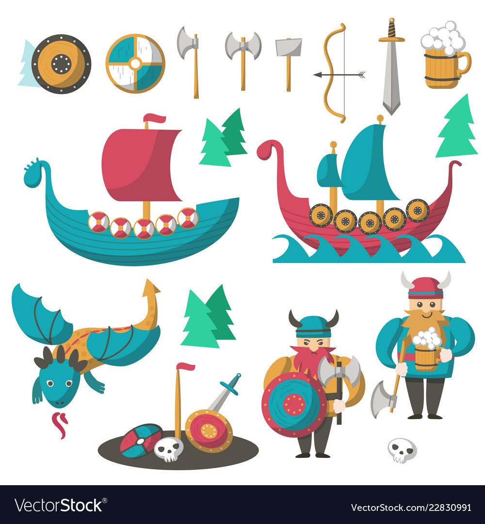 Flat vikings flying dragon and longships
