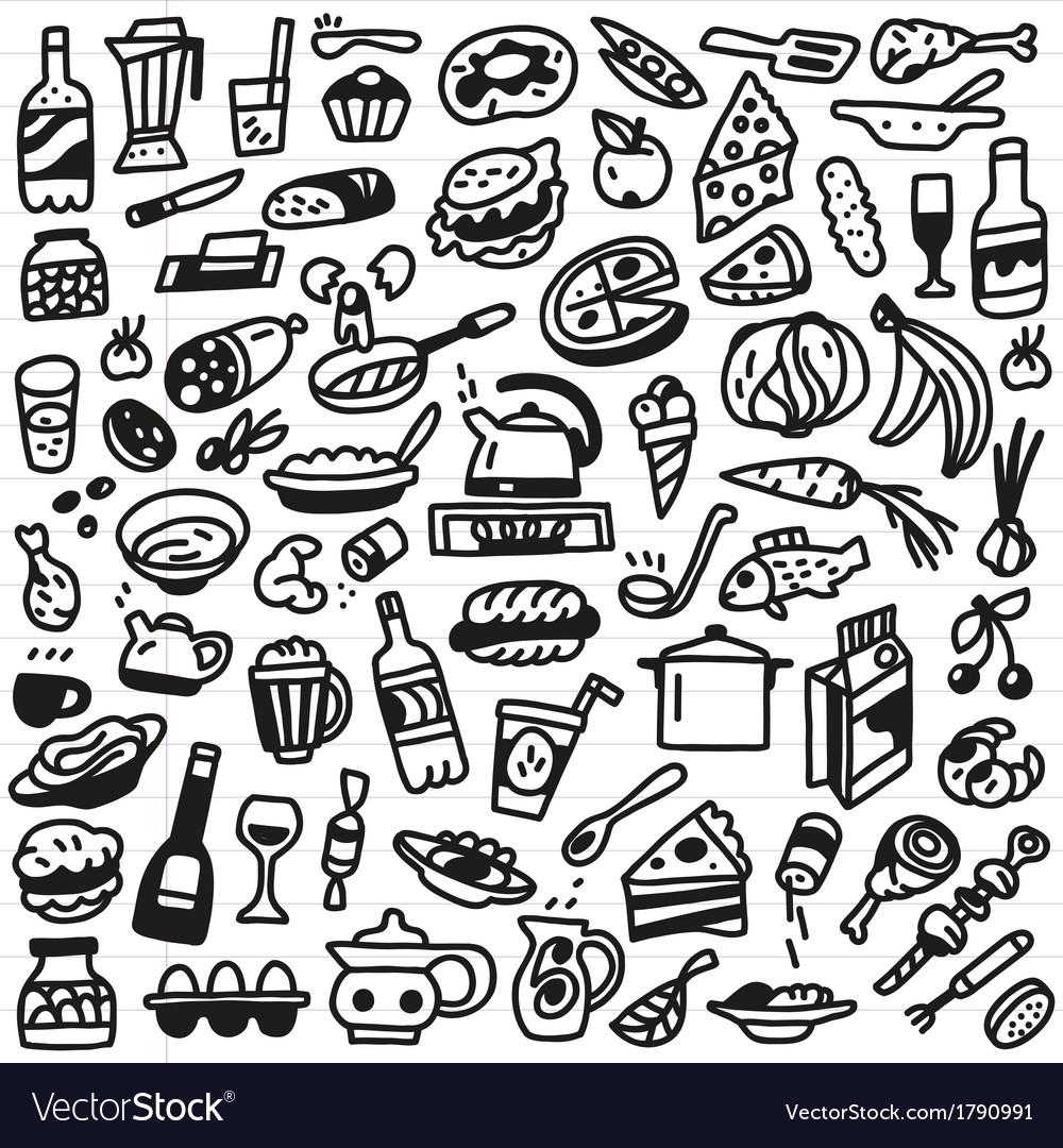 Food Doodles Set Royalty Free Vector Image Vectorstock