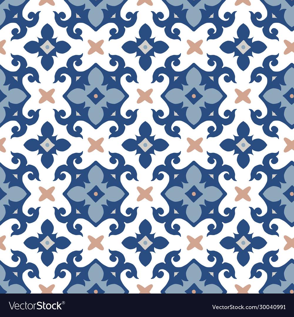 Hand drawn blue moroccan seamless pattern