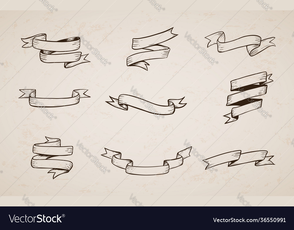 Hand drawn vintage ribbon collection