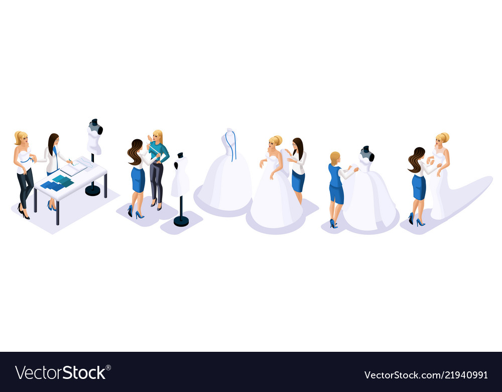 Isometric is a set of tailors sewing wedding dress