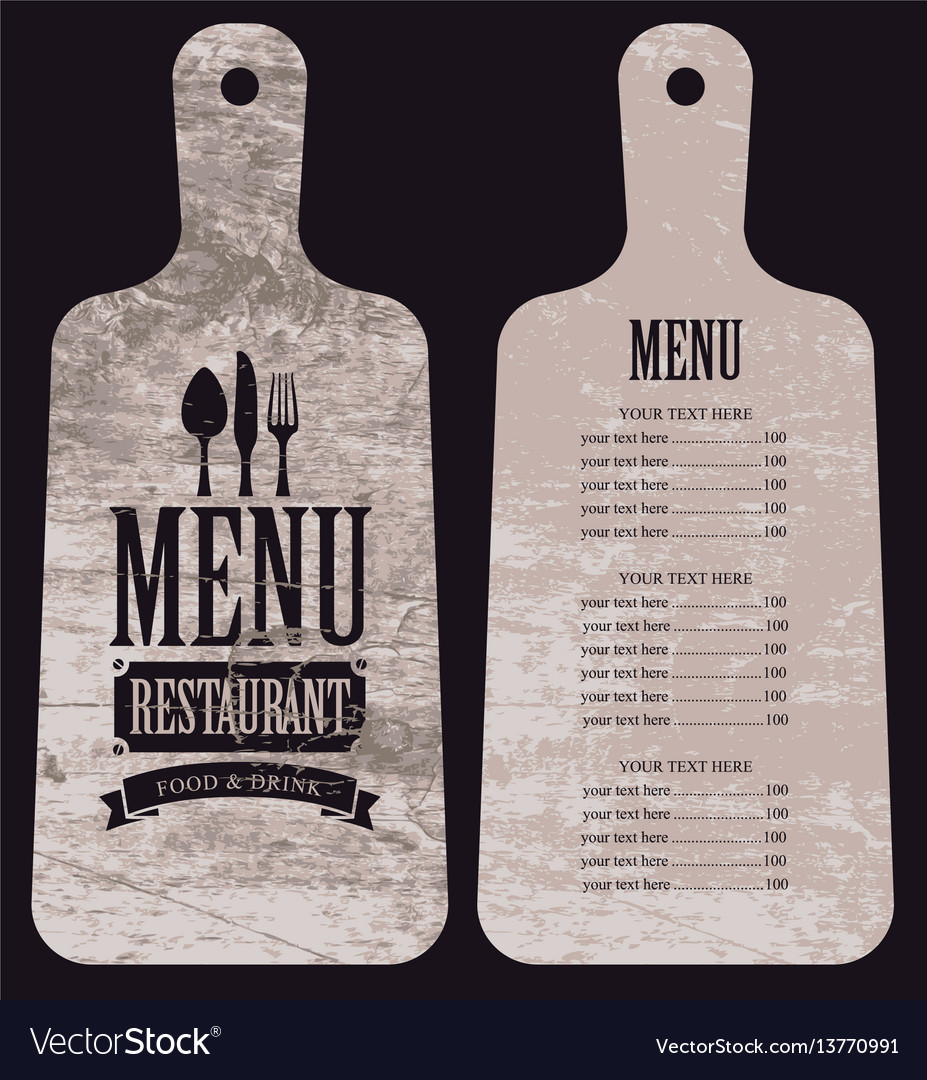 Menu for the restaurant in the form cutting board