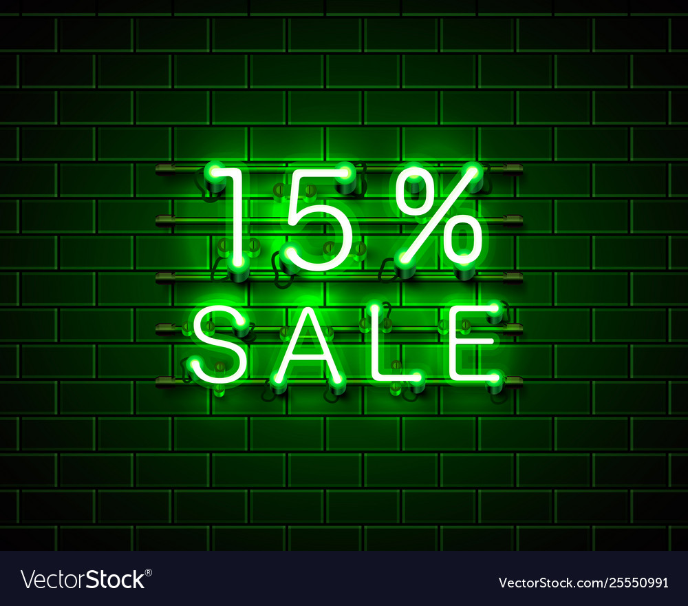 Neon 15 sale text banner night sign