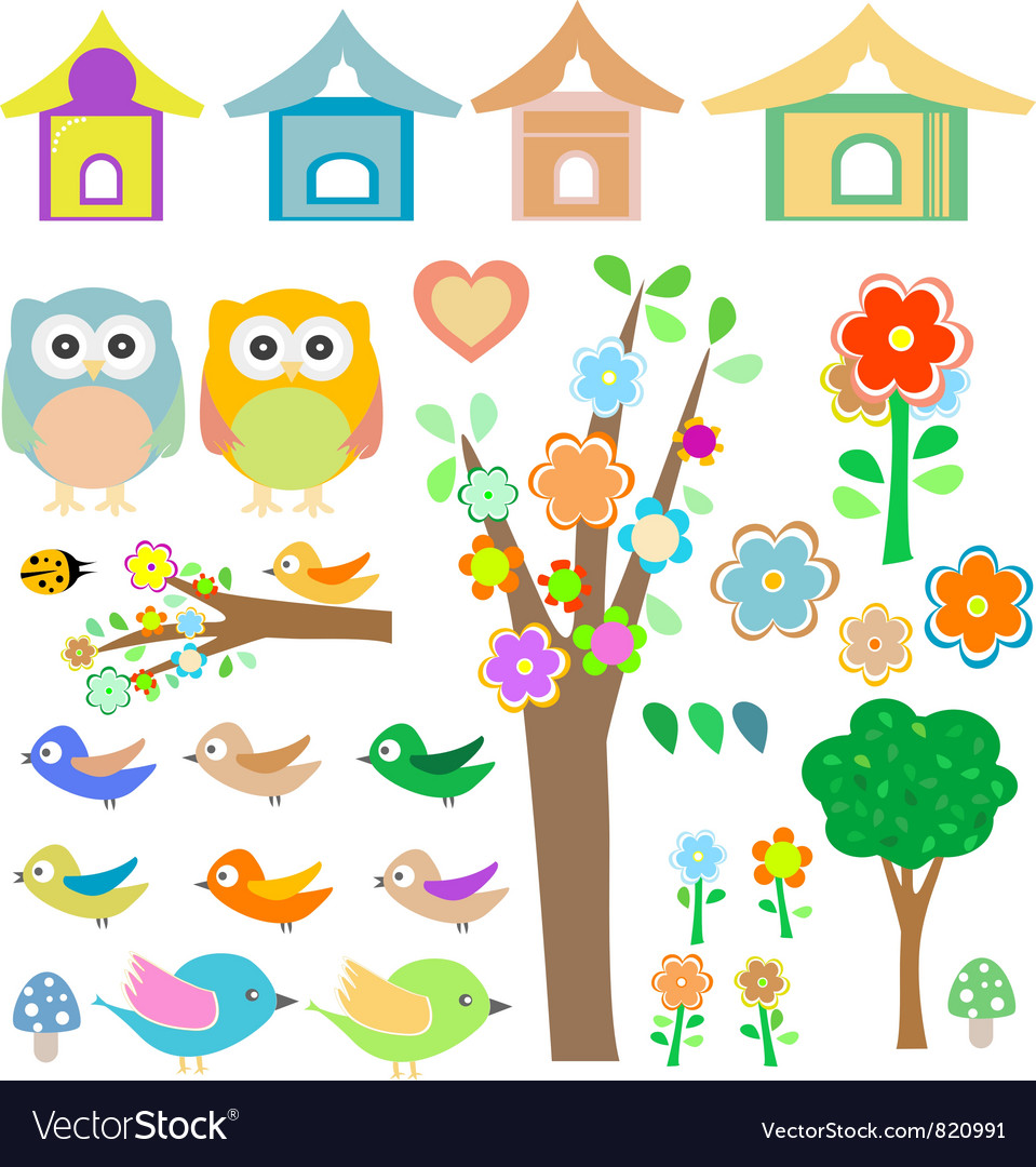 Set birds with birdhouses owls trees and flowers