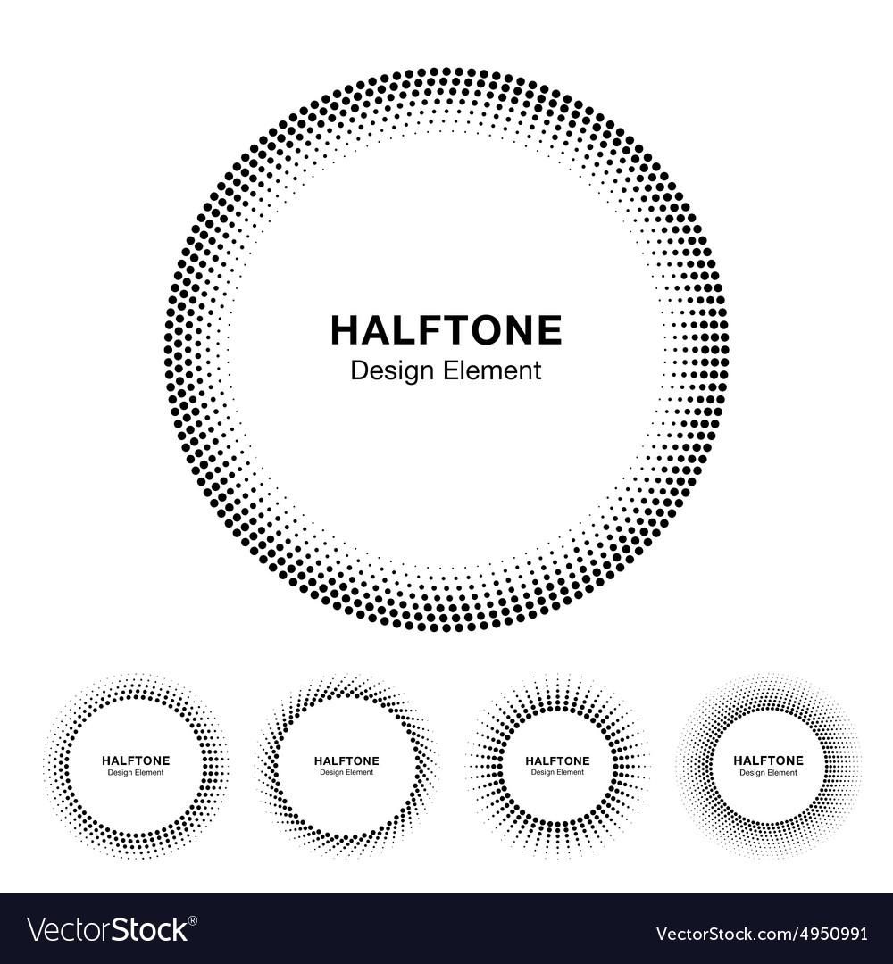 Set black abstract halftone circle frame logo