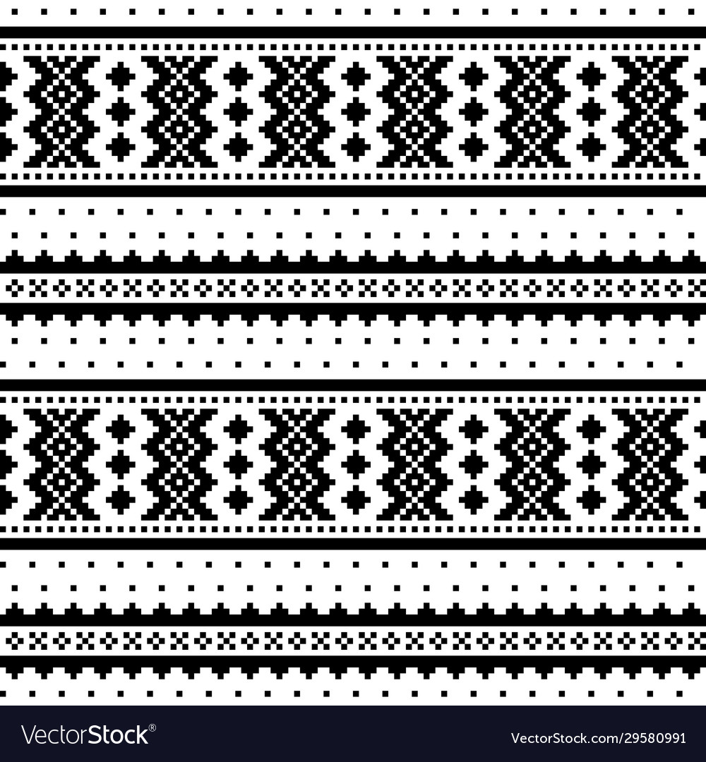 Winter cross-stitch monochrome pattern