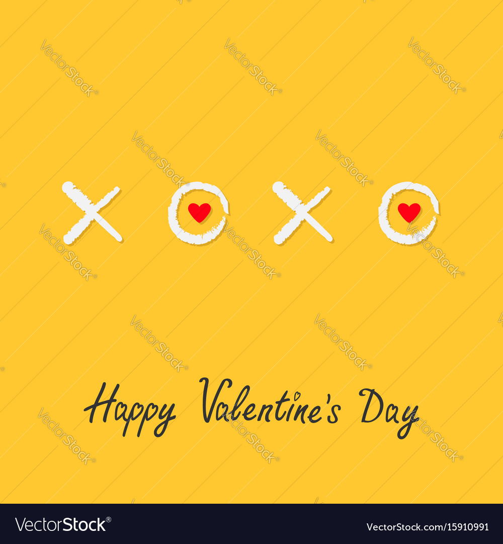 Xoxo hugs and kisses sign symbol mark love red vector image