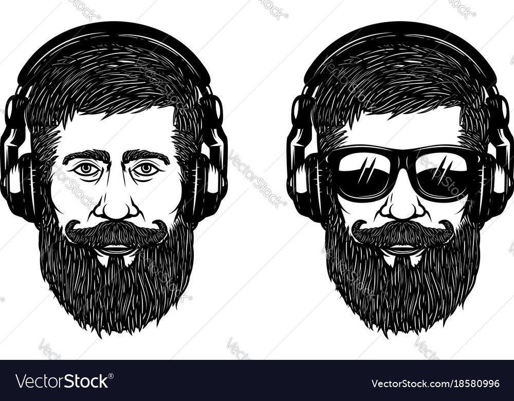 Bearded man face with sun glases and headphones vector image