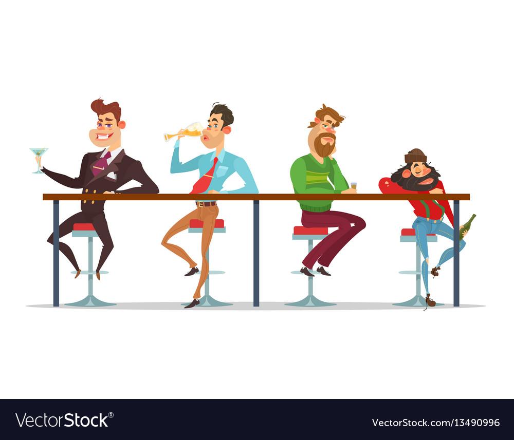 Cartoon men sitting at the bar table at vector image