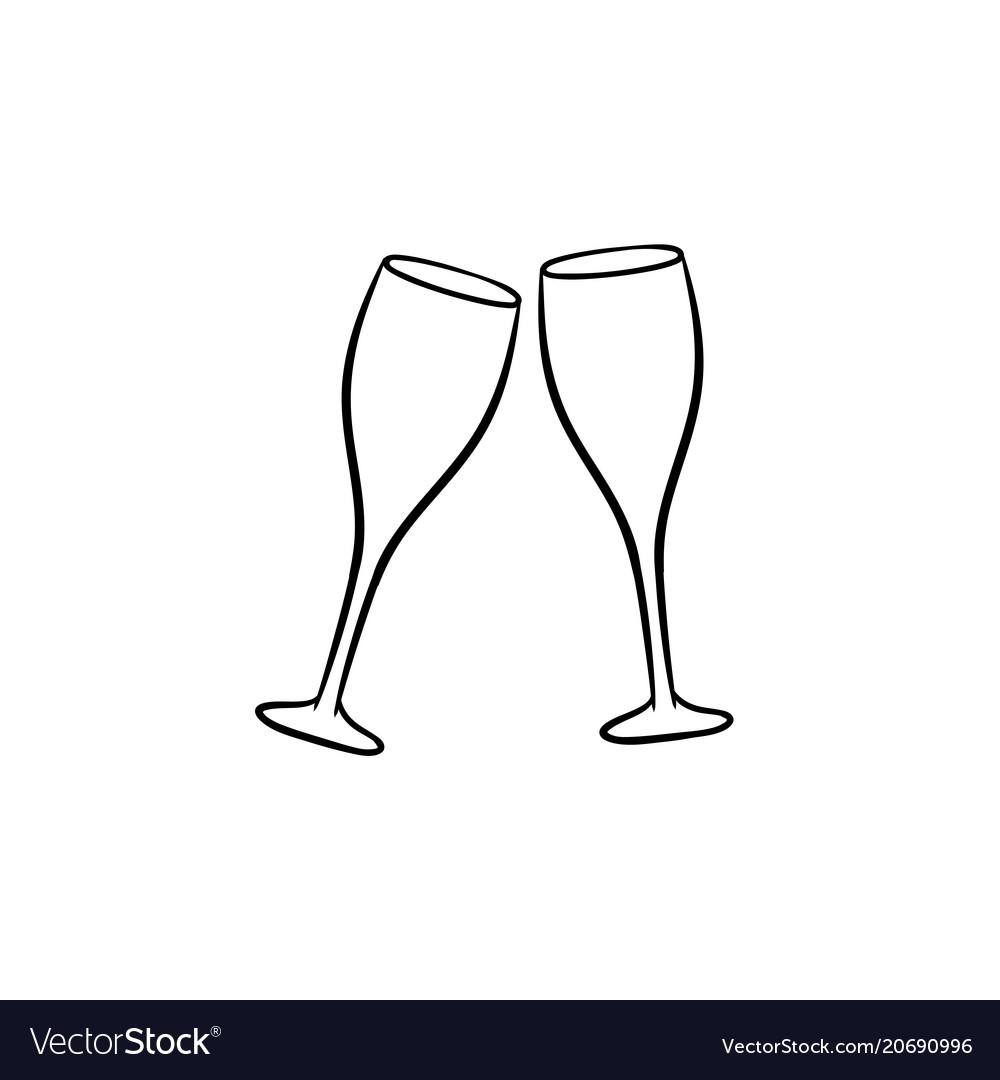 Champagne glasses hand drawn sketch icon