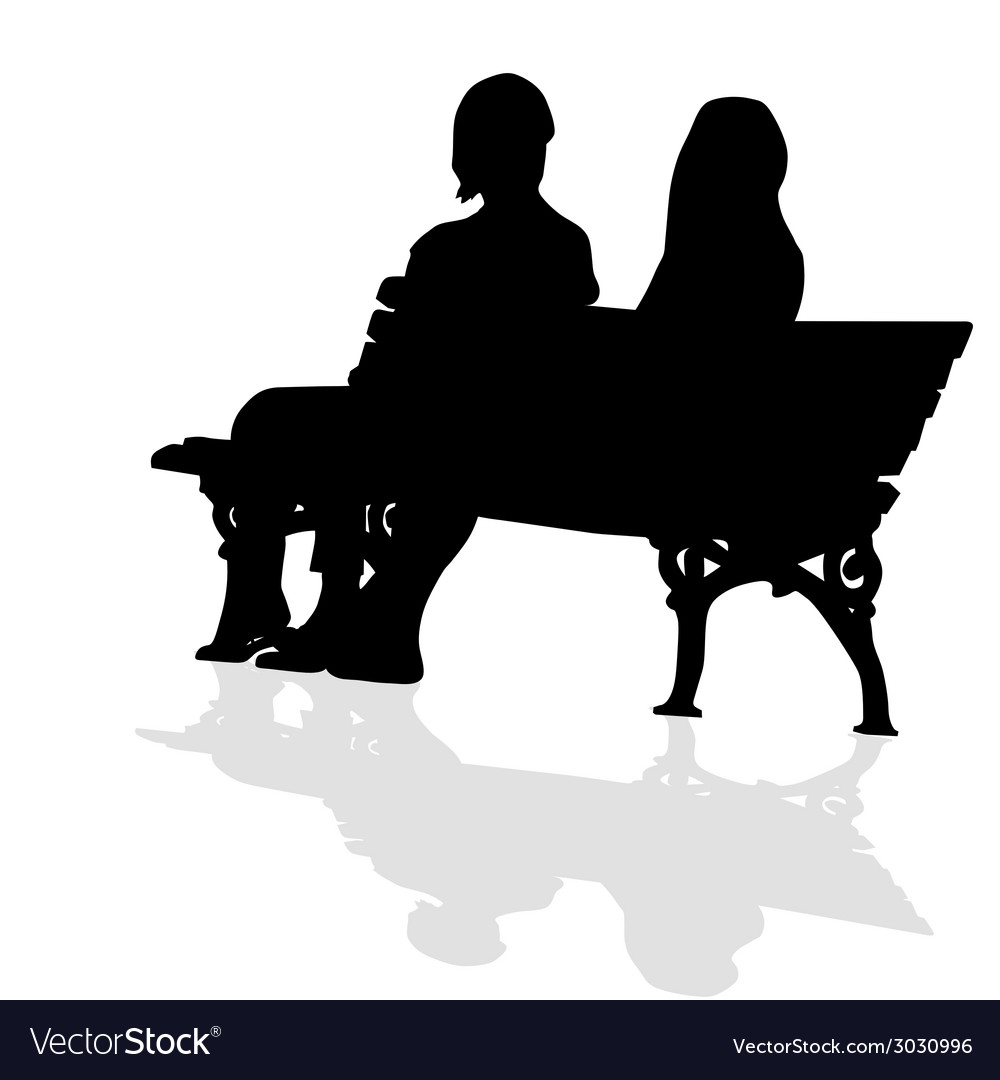 Couple sitting on a bench silhouette