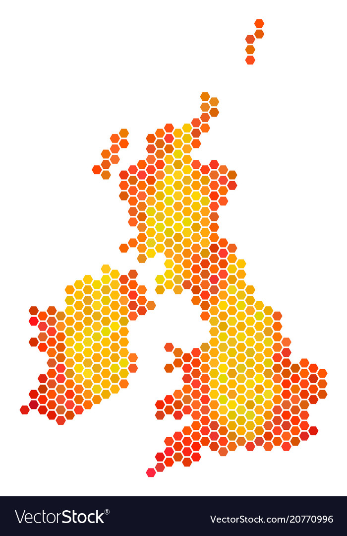 Britain And Ireland Map.Fire Hexagon Great Britain And Ireland Map Vector Image