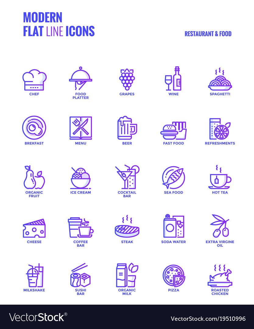 Flat line gradient icons design-restaurant and