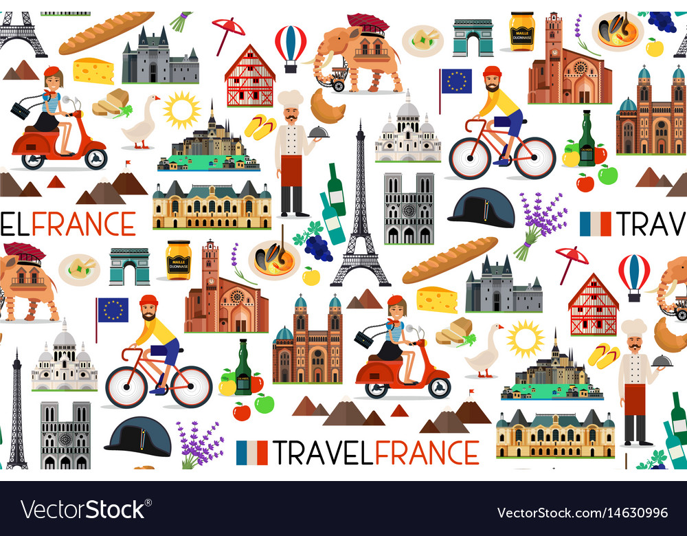 Travel Map Of France.France Landmarks And Travel Map Royalty Free Vector Image