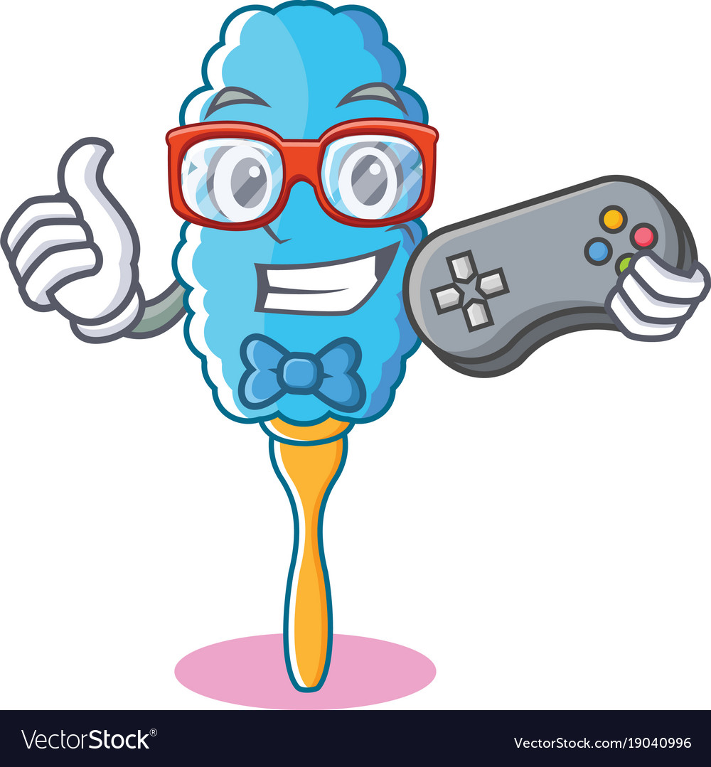 Gamer feather duster character cartoon