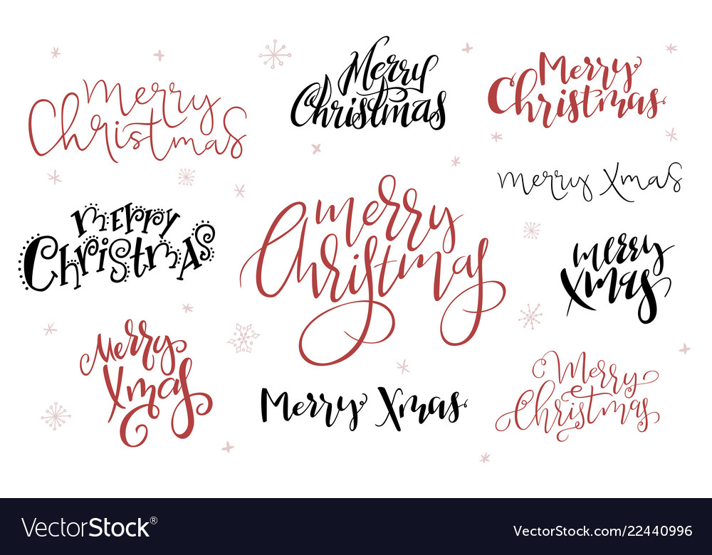 Hand lettering greeting merry christmas