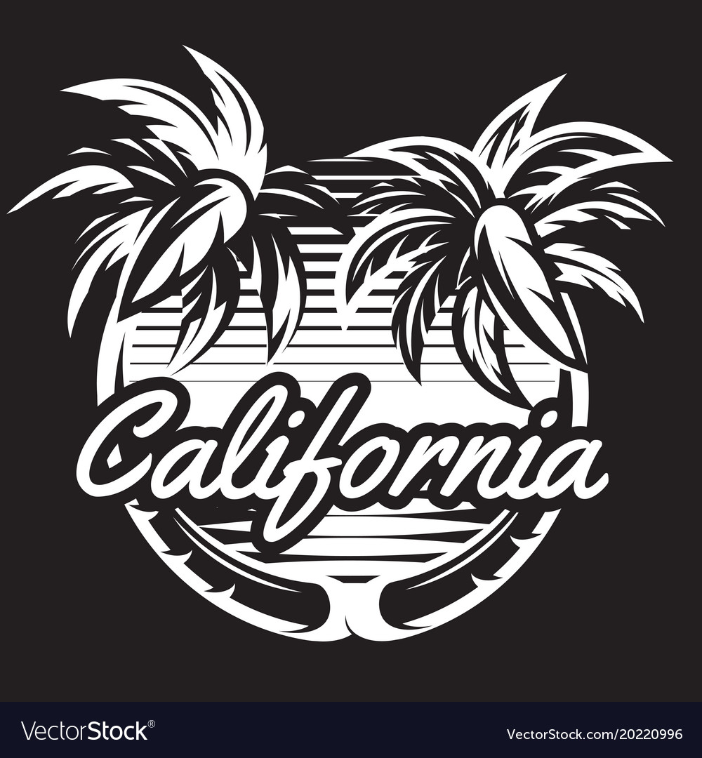Monochrome pattern with two palm trees and coast vector image