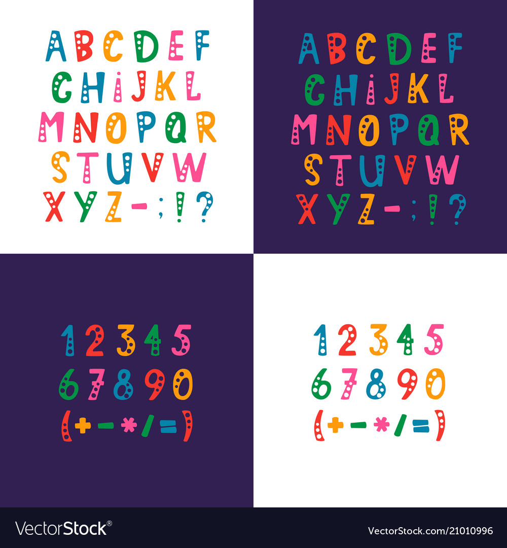 Set of alphabet letters numbers and