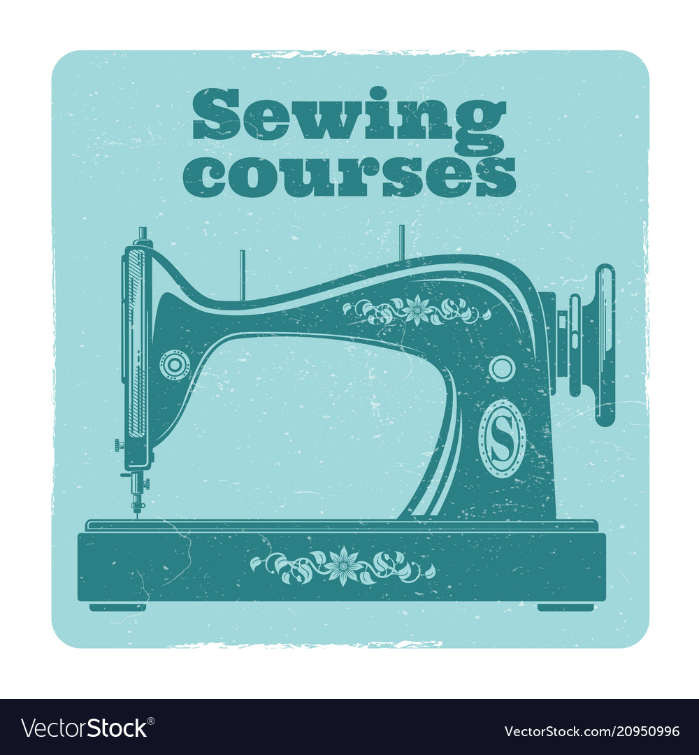 Sewing grunge label vintage sewing machine