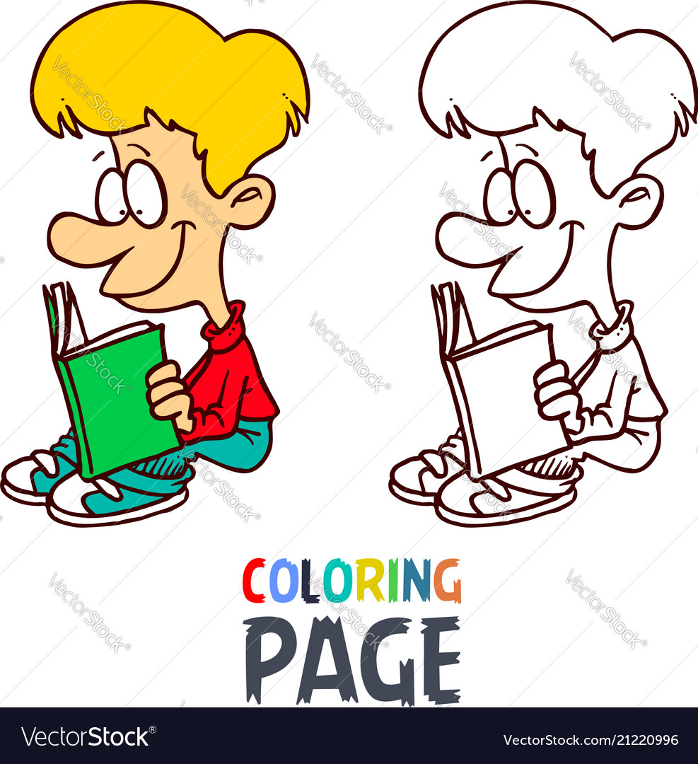 Young boy reading book cartoon coloring page