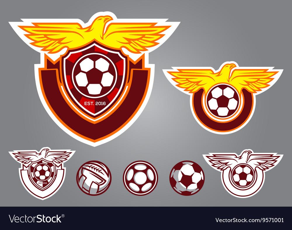 Bird emblem logo football vector image
