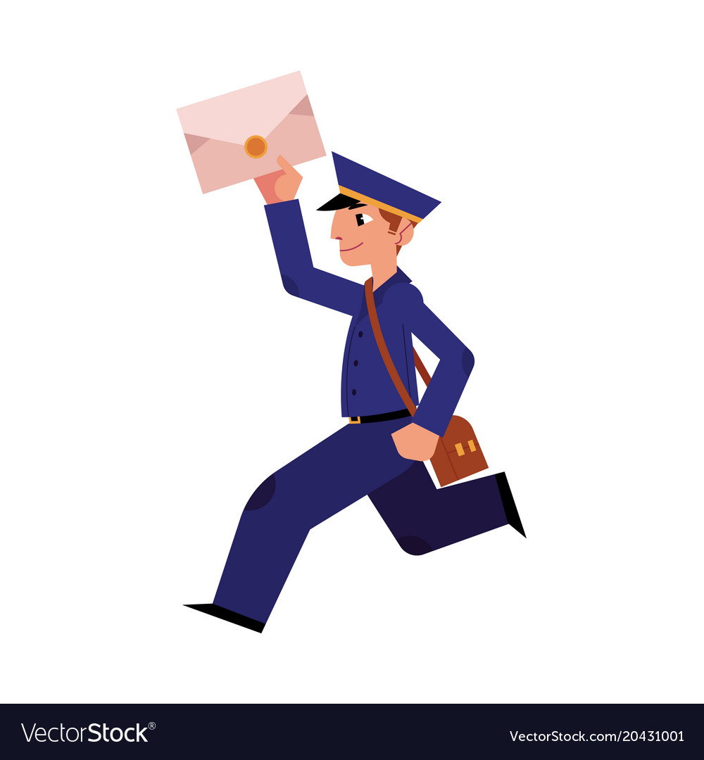 Postman With Bag And Letter. Drawn In Cartoon Style. Royalty Free Cliparts,  Vectors, And Stock Illustration. Image 61433573.