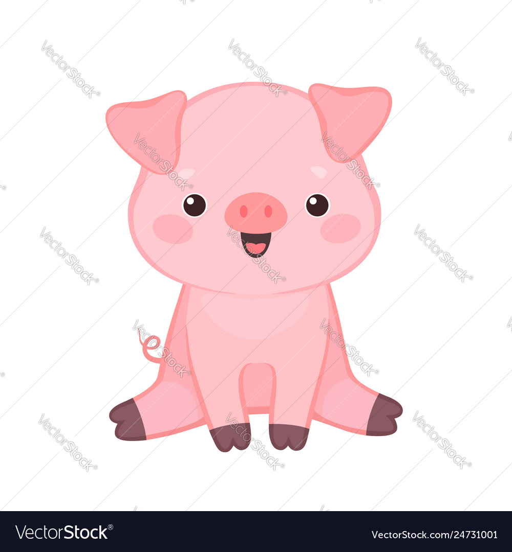 Cute cartoon pig sitting and smiling