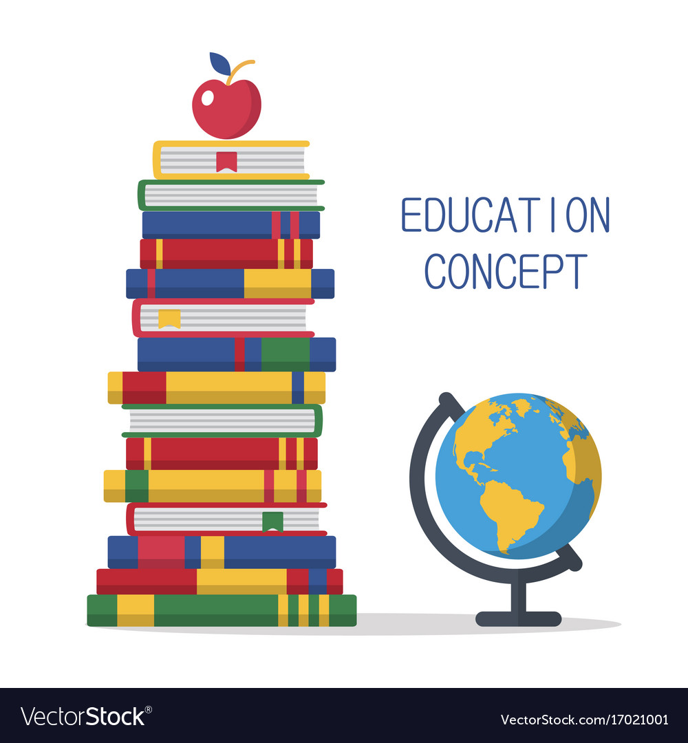 Education template design with books pile