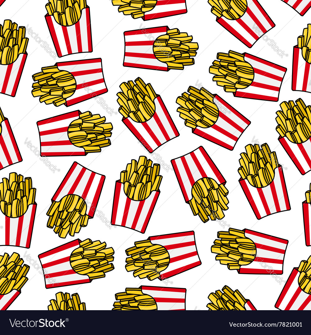 fast food french fries seamless pattern royalty free vector