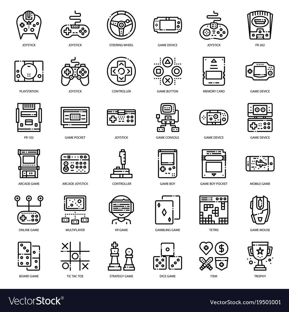 Game Technology Outline Icon Royalty Free Vector Image - Game outline