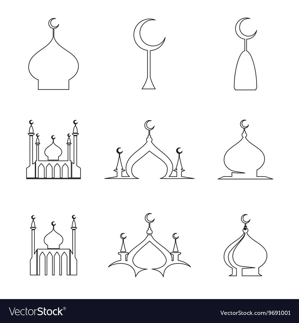 Line arabic dome of mosque set