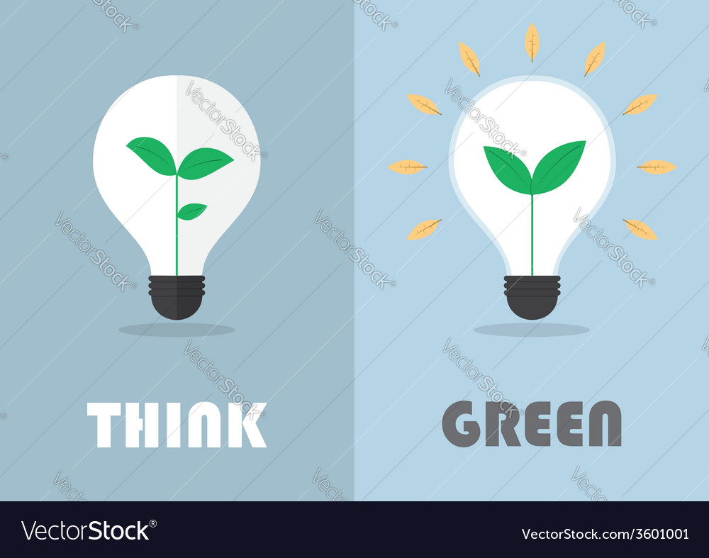 Little plant inside a light bulb Green eco energy