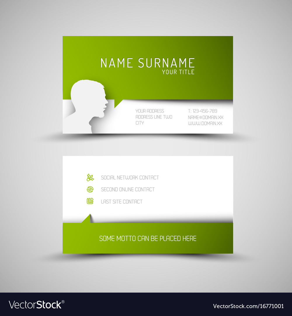 Modern simple green business card template with vector image wajeb Choice Image