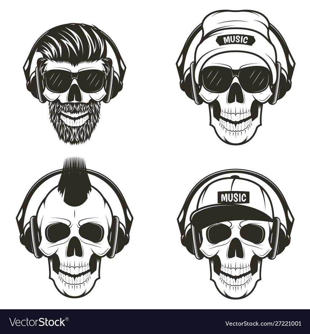 Music skull front view set hand drawn