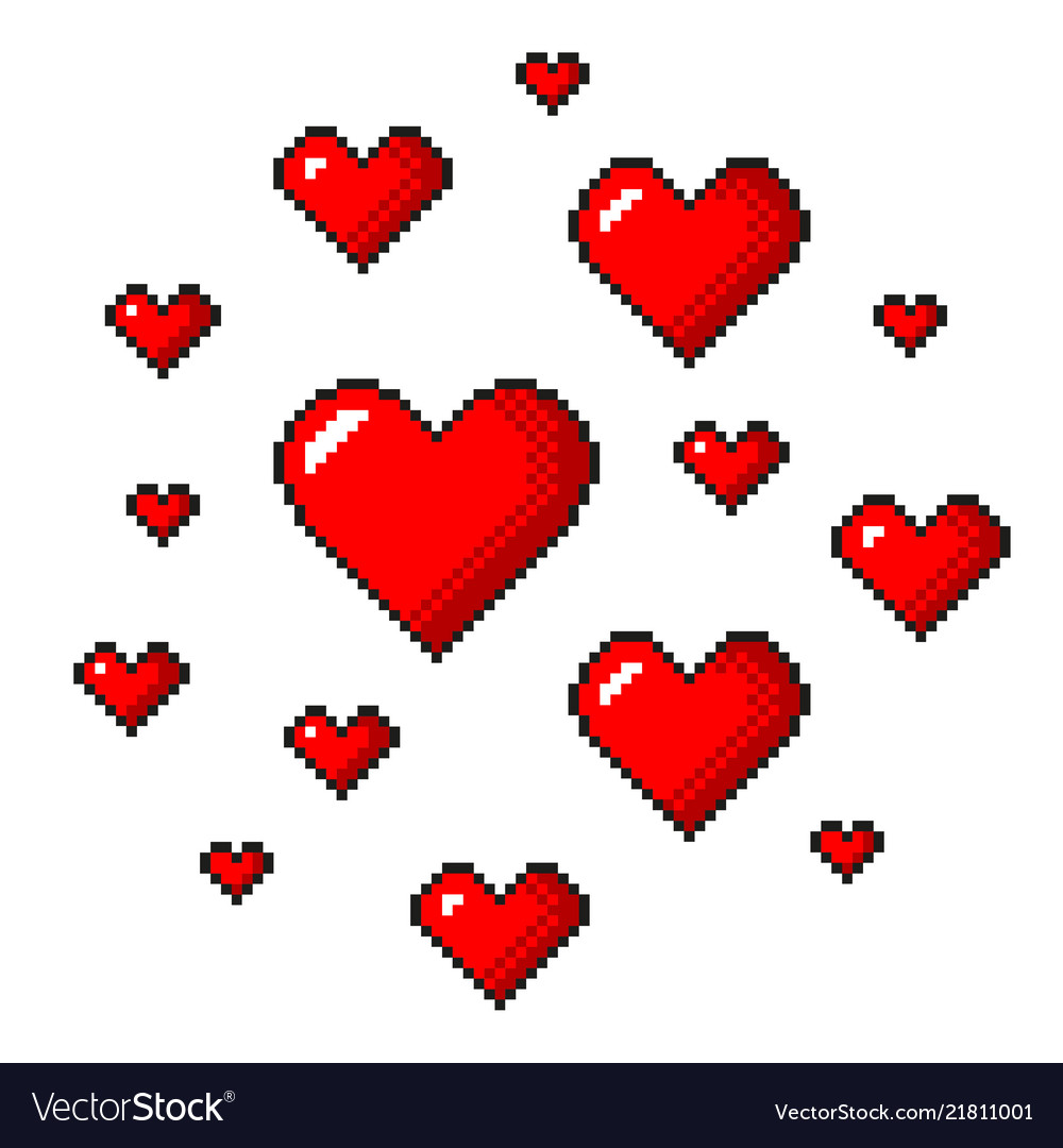 Pixel art red hearts detailed isolated