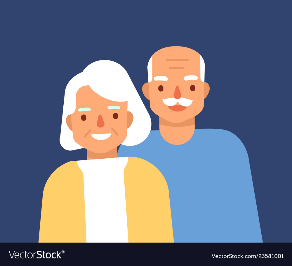 Portrait of cute happy elderly couple smiling old
