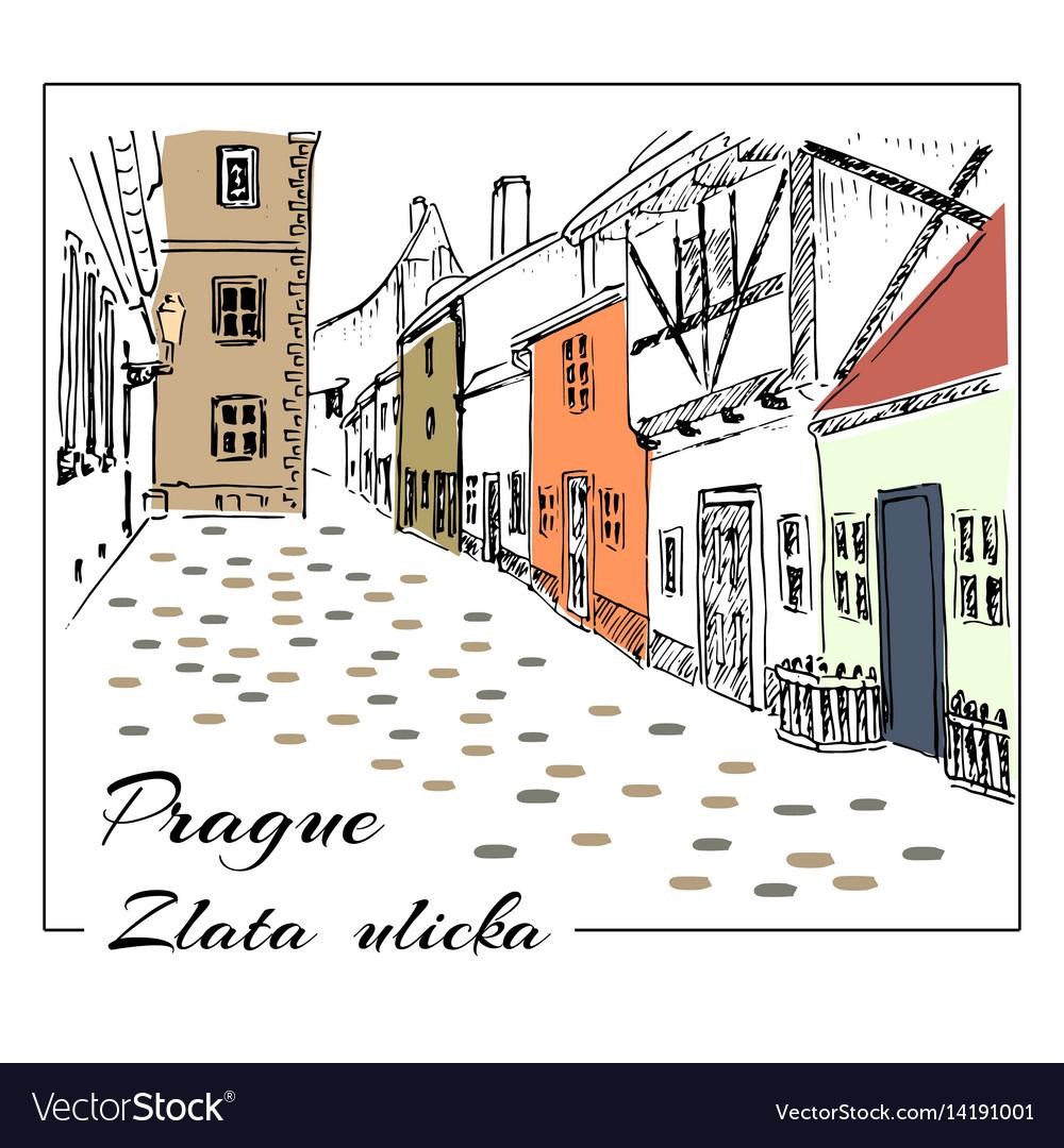 Prague colored hand drawn sketch