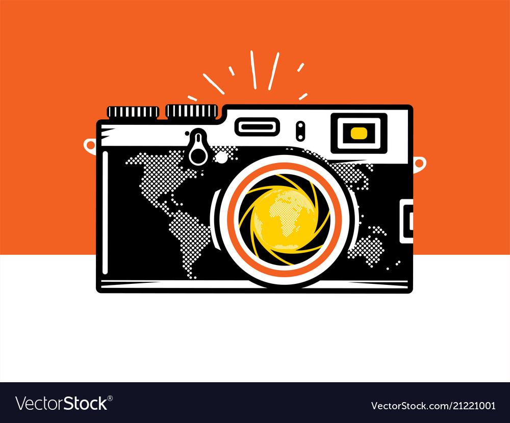 Travel photography camera with globe