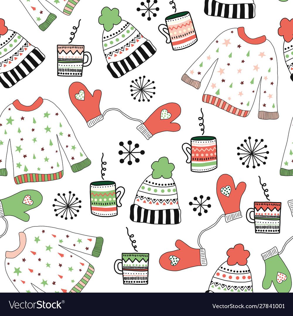 Winter wear doodle seamless pattern
